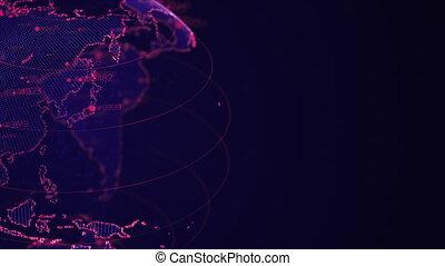 profondeur, données, flotter, fin, tourner, pro, glow., animation, 4k, briller, champ, terre planète, haut, numbers., globe, animation., grand, 3d, continents, pixel, résumé, cyber, boucle, uhd, res