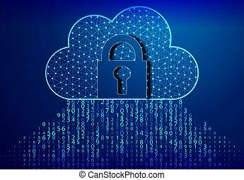 profondeur, field/binary, nuage, bleu, binaire, voler, cadenas, serrure, calculer, code., fond, vortex, code, par, octets
