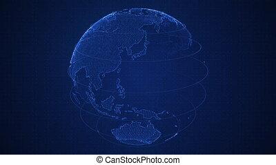profondeur, res., pro, binaire, glow., animation, rotation, 4k, constructed, briller, champ, planète, nombres, la terre, planet., globe, 3d, hud, rotation., continents., résumé, bleu, cyber, boucle, uhd