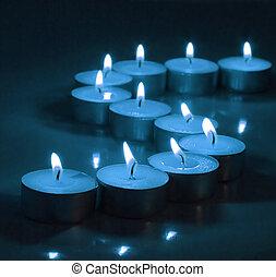 profondo, blu, lume di candela, tè, luci