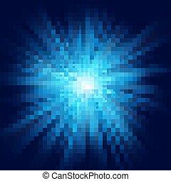 profondo, blu, splendore, scoppio stella, bagliore, esplosione, trasparente, luce, effect., eps, 10