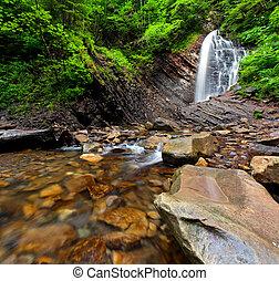 profondo, foresta, cascata, in, il, montagna