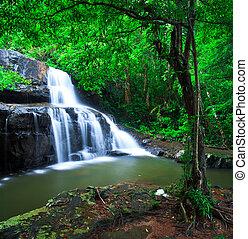 profondo, foresta, cascata, pang, sida, parco nazionale, sa, kaeo, tailandia