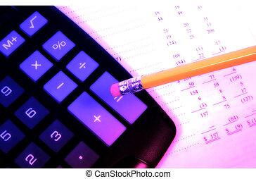 Proforma - Photo of a Caluclator, Pencil and Balance Sheet...