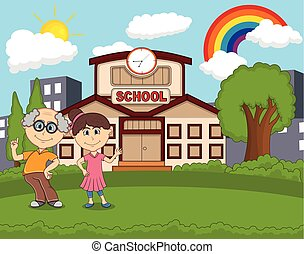 profs, devant, école, à, arc-en-ciel, dessin animé