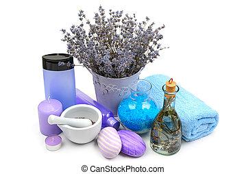 profumato, lavanda, shampoo, isolato, candele, fondo, bianco, sapone