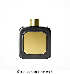 profumo, nero, fragranza, bottiglia, mockup