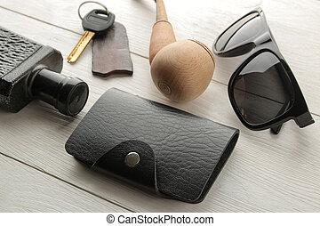 profumo, scheda, legno, bianco, occhiali, fumo, supporto, affari, uomini, fondo., chiavi, tubo, accessories., style.