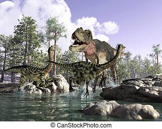 profundidad, gallimimus, d, caza, tyrannosaurus rex, escena...
