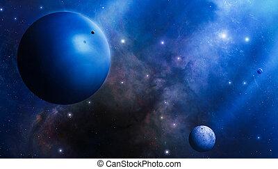 profundo, azul, espacio, misterio
