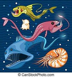 profundo, azul, mar, pez