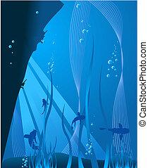 profundo, azul, mar