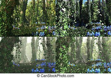 profundo, bosque, 3d, gráficos por computadora