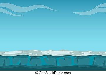 profundo, cielo azul, encima, todavía, océano, plano de fondo