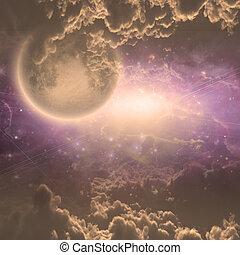 profundo, espaço, cena