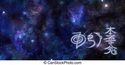 profundo, espacio, reiki, attunement, símbolos