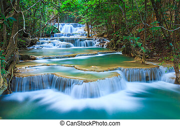 profundo, kanchanaburi, cascada, tailandia, bosque