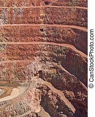 profundo, mina, agujero, en, estratos de la roca
