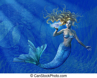 profundo, sirena, mar