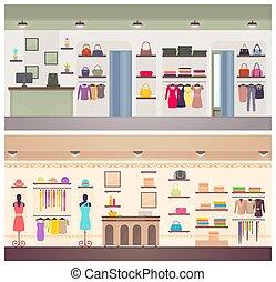 progetta, abbigliamento, due, vettore, femmina, negozi, bandiera