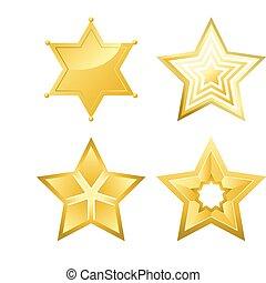 progetta, cinque-puntuto, liscio, superficie, luminoso, stelle, parecchi, baluginante