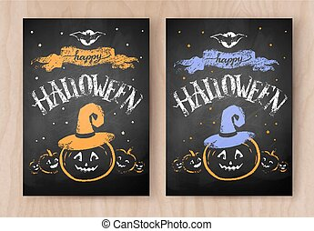 progetta, colorare, halloween, chalked, cartoline, felice