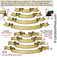 progetta, formati, giú, papiro, due, quattro, –, 2, curvo, nastri