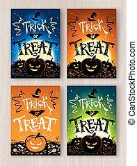 progetta, halloween, trucco, trattare, cartoline, o
