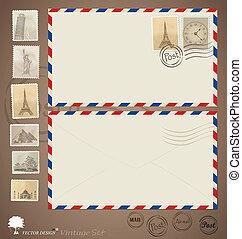 progetta, illustration., vendemmia, busta, vettore, stamps.