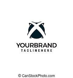 progetta, lettera, astratto, iniziale, forma, sagoma, x, logotipo, globo