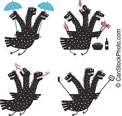 progetta, set, carattere, drago, tratti volto, cattivo, stampa, disegnato, comico, mano, ruvido