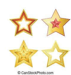 progetta, set, cinque-puntuto, stelle, illustrazioni, parecchi, baluginante