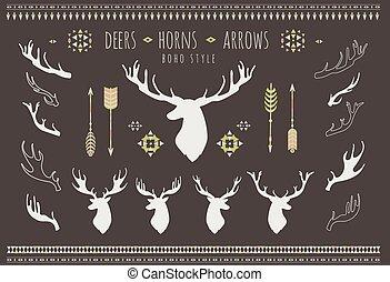 progetta, set, rustico, silhouette, antlers., antler