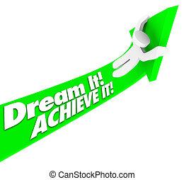 progetti, cavalcate, su, esso, freccia, speranze, compiere, ...