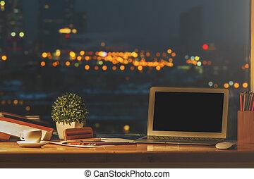 progettista, desktop, con, vuoto, laptop