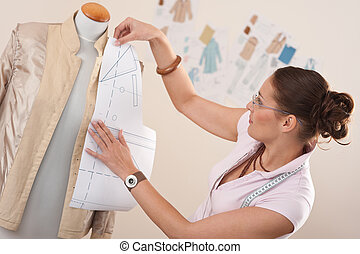 progettista, lavorativo, modello, taglio, femmina, moda