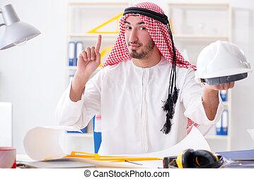 progetto, arabo, ingegnere, lavorativo, nuovo
