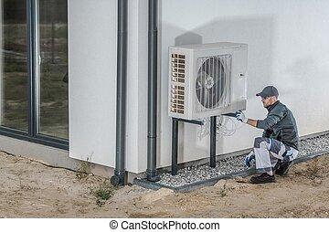 progetto, calore, installazione, pompa