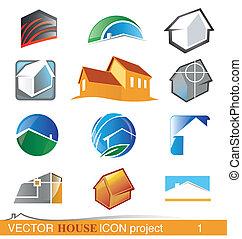 progetto, casa, 1, vettore, icona