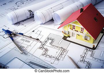 progetto, casa, cianografie, -