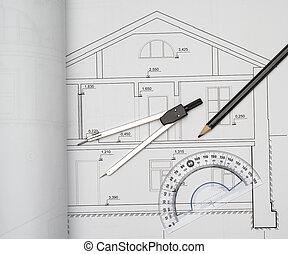 progetto, casa, divisori, architettonico