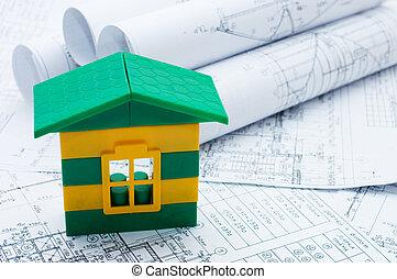 progetto, casa, modello