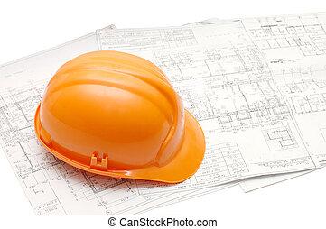progetto, casco, arancia, casa