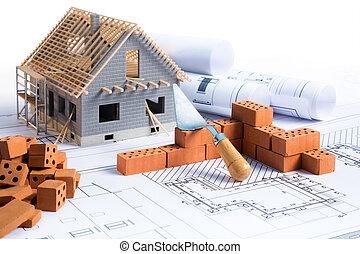 progetto, costruzione casa, -