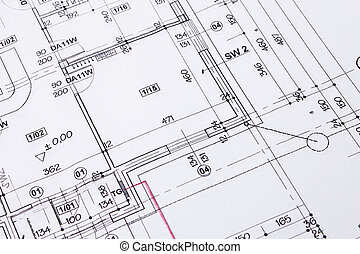 progetto costruzione, pavimento, disegno, closeup.