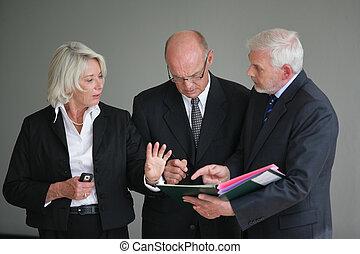 progetto, discutere, businesspeople
