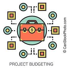 progetto, linea, pianificazione finanziaria, icons.
