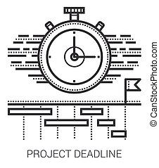 progetto, linea, scadenza, icons.