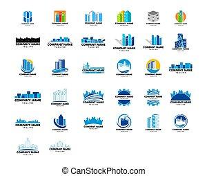 progetto serie, sagoma, città, logotipo, vettore