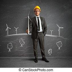 progetto, turbina, energia, vento